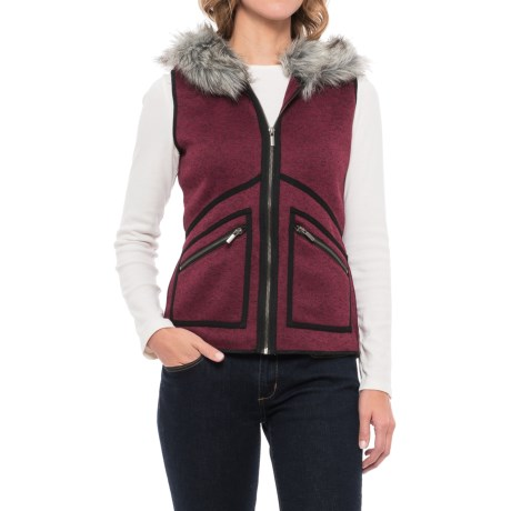 Icelandic Design Hooded Vail Vest - Faux-Fur Trim (For Women)
