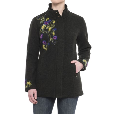 Icelandic Design Pastorale Embroidered Jacket - Boiled Wool, Zip Front (For Women)