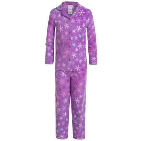 Komar Kids Snowflake Microfleece Pajamas - Long Sleeve (For Girls)