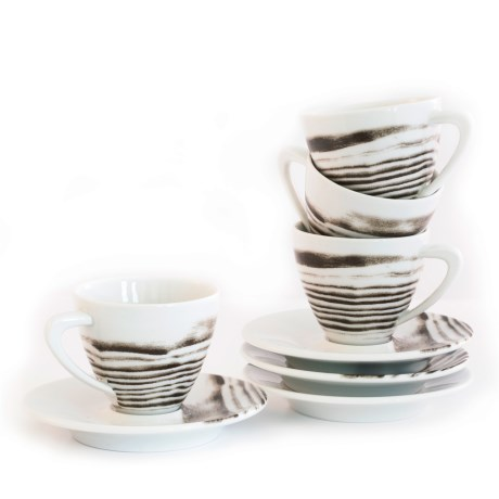 Bambeco Goode Grain Porcelain Espresso Cup and Saucer - Set of 4