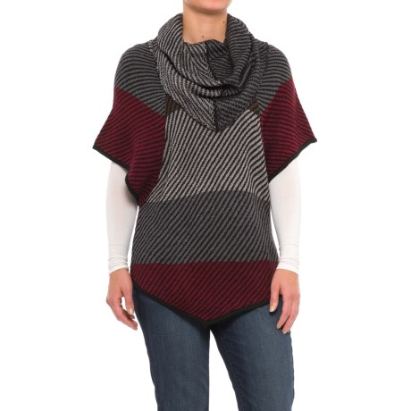 Chelsea & Theodore Sweater-Knit Poncho - Cowl Neck, Short Sleeve (For Women)