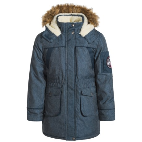 Big Chill Fleece-Lined Long Jacket - Insulated (For Big Girls)