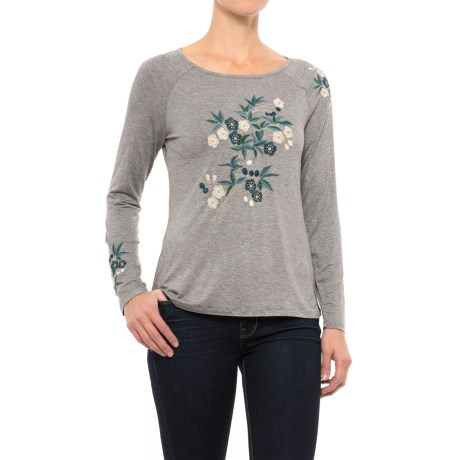 Cupio Embroidered Boat Neck Shirt - Long Sleeve (For Women)