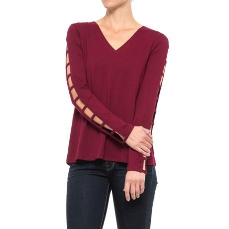 Cupio Ladder-Sleeve V-Neck Shirt - Long Sleeve (For Women)
