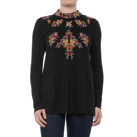 Cupio Embroidered Jersey Shirt - Keyhole Button Back, Long Sleeve (For Women)