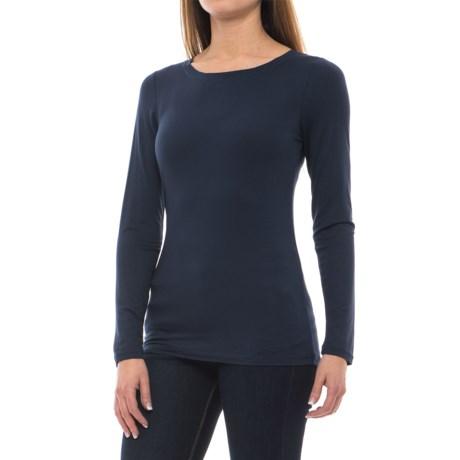 Cupio Basic Crew Neck Shirt - Long Sleeve (For Women)