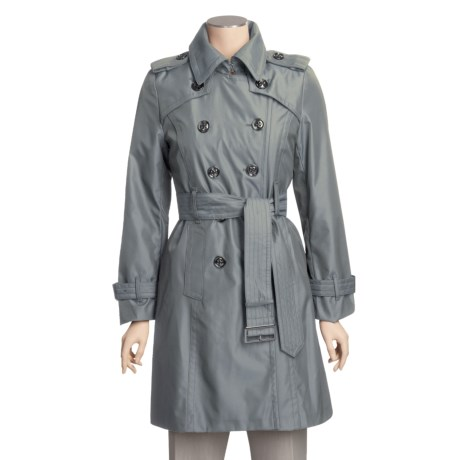 London Fog Double-Breasted Iridescent Trench Coat - Zip-Out Liner (For Women)