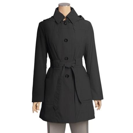 London Fog Satin-Finish Trench Coat - Hooded (For Women)
