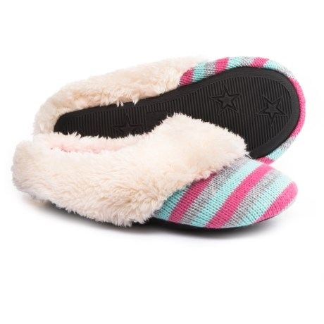 Dearfoams Patterned Sweater Knit Scuff Slippers (For Girls)