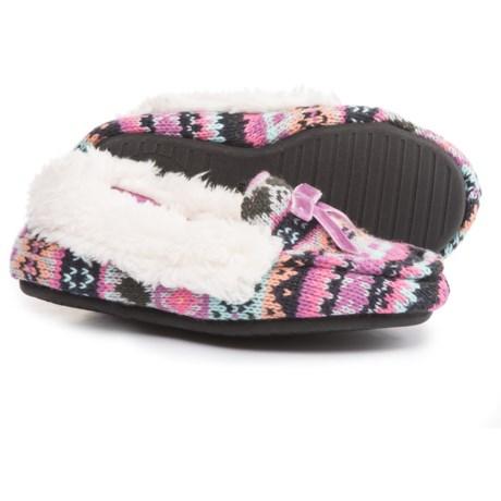 Dearfoams Patterned Sweater-Knit Slippers (For Girls)