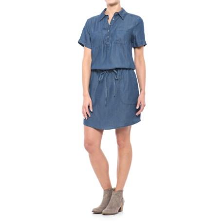 River & Rose Chambray Drawstring Shirt Dress - Short Sleeve (For Women)