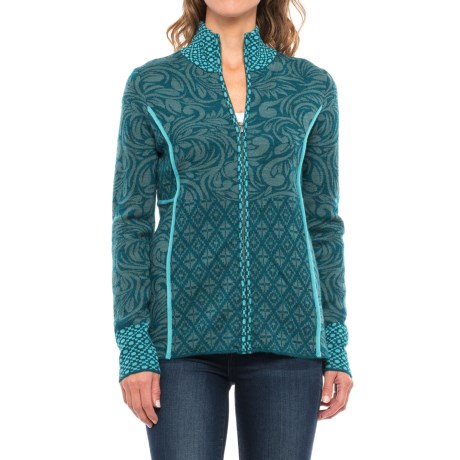Icelandic Design Alessandra Full-Zip Cardigan Sweater - Wool Blend (For Women)