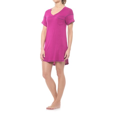 Honeydew Intimates Intimates All-American Ribbed Sleep Shirt - Stretch Rayon, Short Sleeve (For Women)