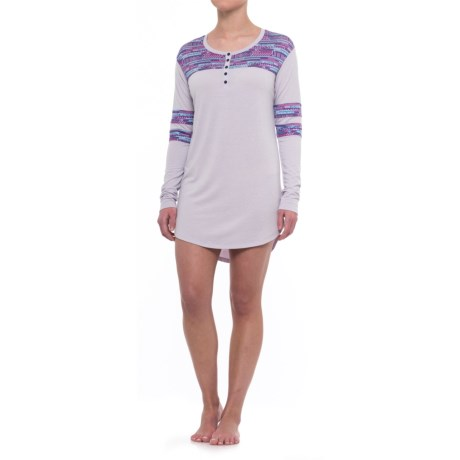 Honeydew Intimates Intimates All-American Henley Sleep Shirt - Stretch Rayon, Long Sleeve (For Women)
