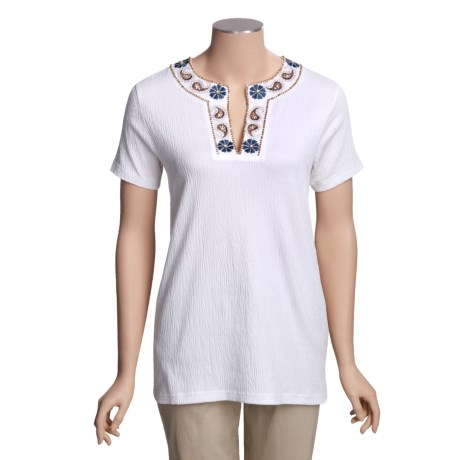 Project Tunic Shirt with Beaded Neckline - Short Sleeve (For Women)