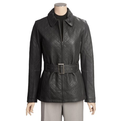 Tibor Leather Quilted New Zealand Jacket - Lamb Leather (For Women)