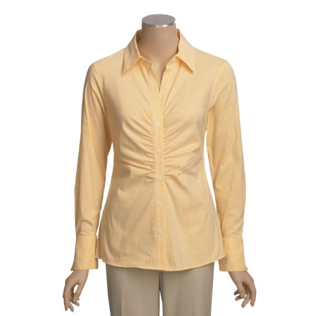 Paperwhite Ruched Shirt - Stretch Cotton, Long Sleeve (For Women)