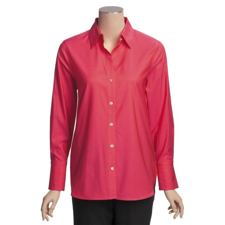 Paperwhite Stretch Cotton Shirt - Elongated, Long Sleeve (For Women)