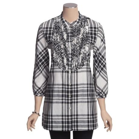Paperwhite Tuxedo Ruffle Tunic Shirt - Linen-Cotton, 3/4 Sleeve (For Women)