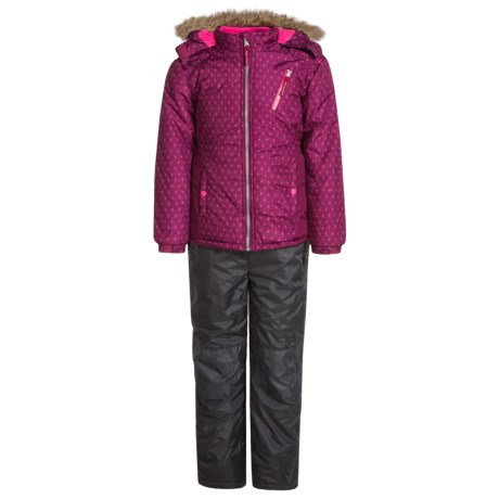 Pink Platinum Printed Snowsuit Set - Insulated, Faux-Fur Trim (For Big Girls)