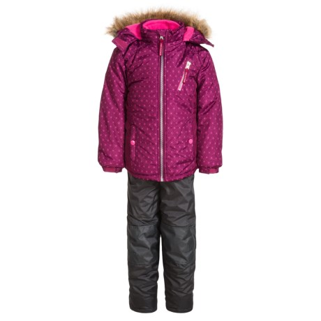 Pink Platinum Printed Faux-Fur Snowsuit Set - Insulated (For Little Girls)