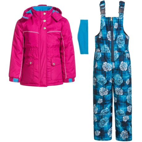 Pink Platinum Floral and Plaid Printed Snowsuit Set - Insulated (For Little Girls)