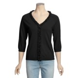 Avalin Cotton Cardigan Sweater - V-Neck, Ruffles (For Women)