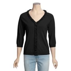 Avalin Cotton Cardigan Sweater - V-Neck, Ruffles (For Women)