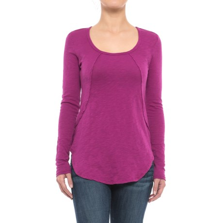 Specially made Solid Slub-Knit Tunic Shirt - Long Sleeve (For Women)