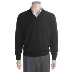 Linea Blu Merino Wool Sweater - Cross-Over V-Neck (For Men)