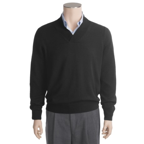 Linea Blu Merino Wool Sweater - Cross-Over V-Neck (For Men)