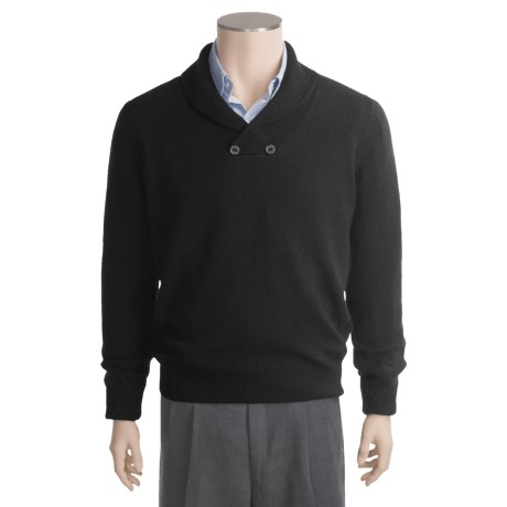 Linea Blu Lambswool Sweater - Two-Button, Shawl Collar (For Men)