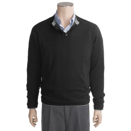 Linea Blu Cotton-Cashmere Henley Sweater - Reversible, Long Sleeve (For Men)