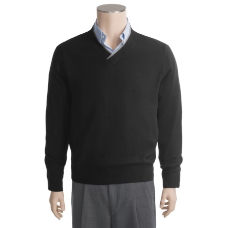 Linea Blu Tipped V-Neck Sweater - Wool-Silk (For Men)
