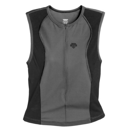 Descente Wave Tri Shirt - Full Zip, Sleeveless (For Men)