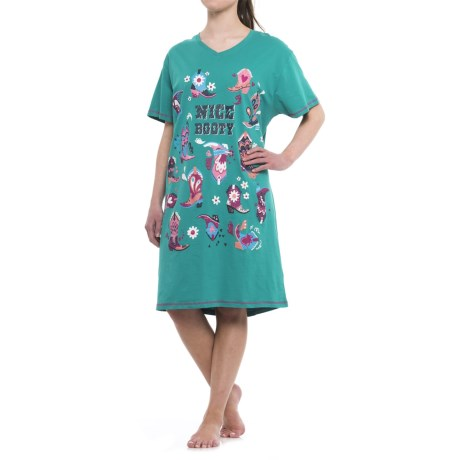 Little Blue House Nice Booty Nightshirt - Short Sleeve (For Women)