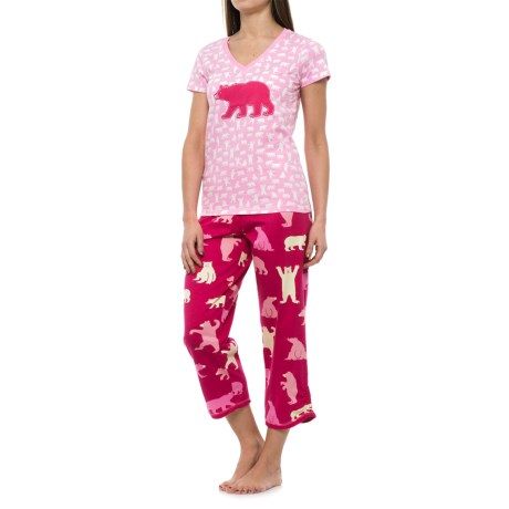 Little Blue House Bear Print Shirt and Capris Pajamas - Short Sleeve (For Women)