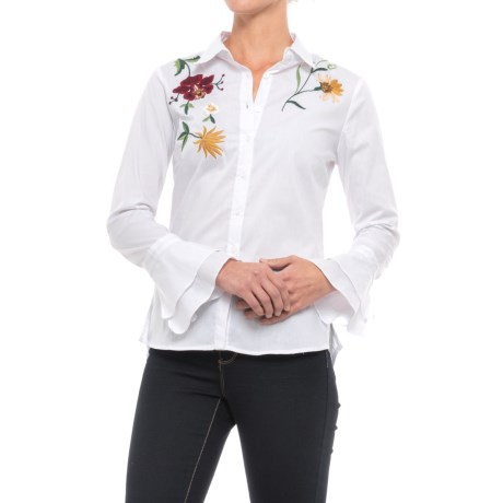 Alexander Jordan Embroidered Ruffle Bell Sleeve Shirt - Long Sleeve (For Women)