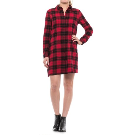 Beach Lunch Lounge Carly Flannel Shirt Dress - Long Sleeve (For Women)