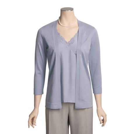 August Silk Cardigan Sweater - Lace-Trimmed Charmeuse Underpinning, 3/4 Sleeve (For Women)