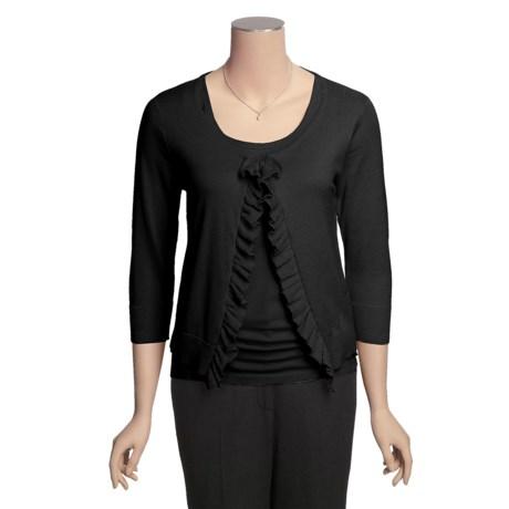 August Silk Ruffle Front Short Cardigan Sweater - Cotton, 3/4 Sleeve (For Women)