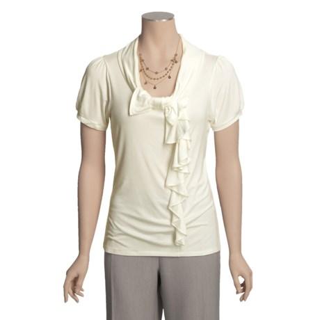 August Silk Bow Shirt - Off-Center Ruffle, Short Sleeve (For Women)