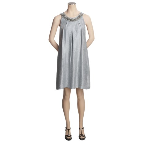 Scarlett Hammered Satin Trapeze Dress - Sleeveless (For Women)