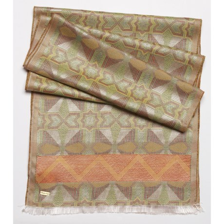 Asian Eye Totem Scarf - Silk-Cotton, Reversible