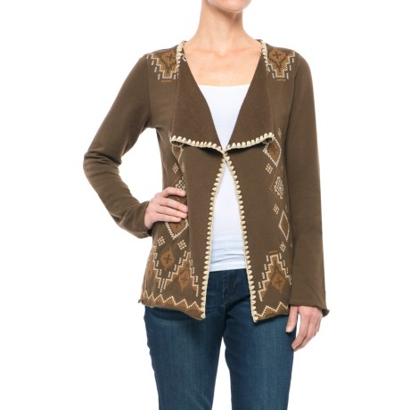 Roper Native Rituals French Terry Cardigan Jacket - Open Front (For Women)