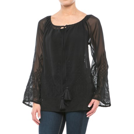 Roper Georgette Chiffon Peasant Blouse - Semi-Sheer, Long Sleeve (For Women)