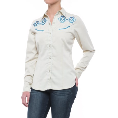 Roper Old West Blue Aztec Embroidery Shirt - Snap Front, Long Sleeve (For Women)