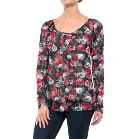 Roper Printed Mesh Peasant Blouse - Long Sleeve (For Women)