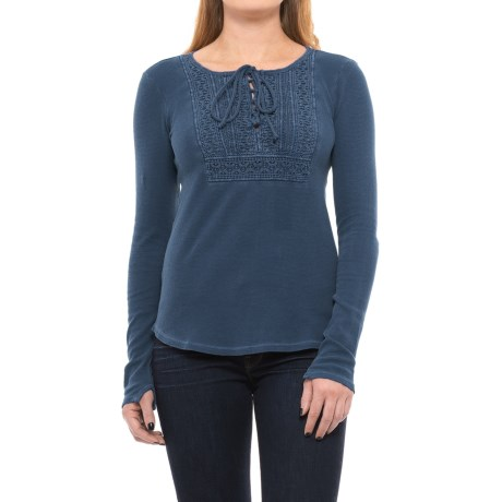 Lucky Brand Lace-Up Bib Thermal Shirt - Long Sleeve (For Women)