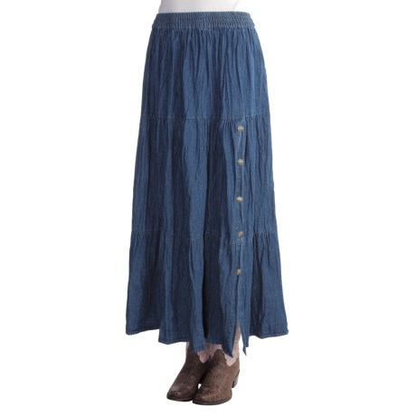 Crazy Cowgirl Broomstick Denim Skirt - Side Concho Buttons (For Women)